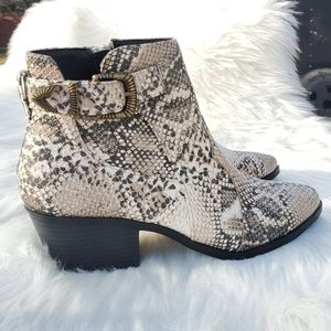 Snake Print Western Country Ankle Buckle Booties